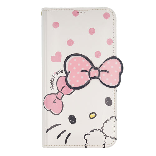 iPhone 12 mini Case (5.4inch) HELLO KITTY Diary Wallet Flip Stand Function Mirror Cover - Shy White Ribbon Pink