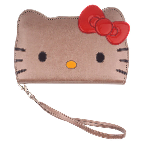 iPhone 12 mini Case (5.4inch) HELLO KITTY Diary Wallet Flip Strap Included Cover - Big Face Gold
