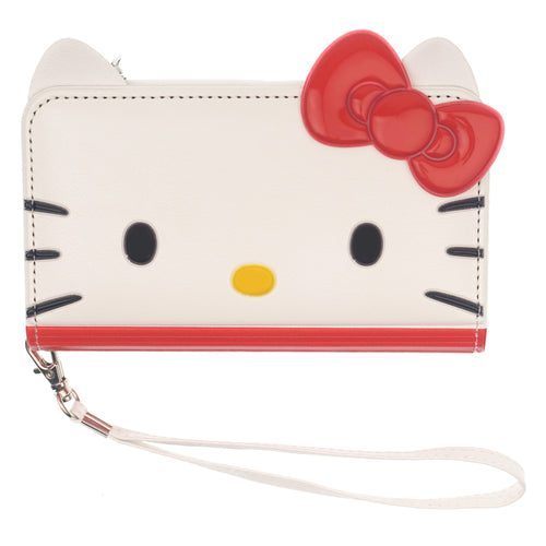 iPhone 12 mini Case (5.4inch) HELLO KITTY Diary Flip [ Double Sided Wallet ] Mirror Coin Pocket Cover - Wallet Face Red