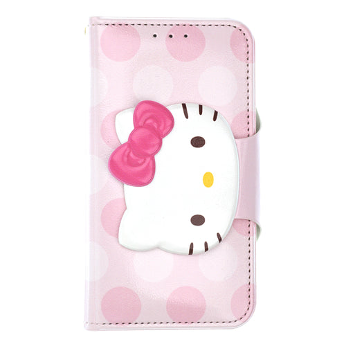 iPhone 12 mini Case (5.4inch) Sanrio Diary Wallet Flip Mirror Cover - Face Button Hello Kitty Baby Pink