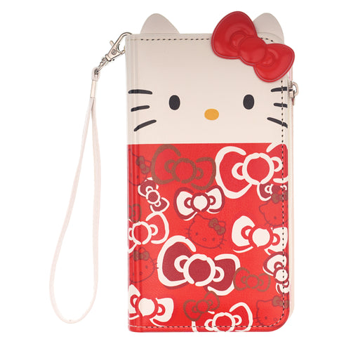iPhone 11 Case (6.1inch) HELLO KITTY Diary Flip [ Double Sided Wallet ] Mirror Coin Pocket Cover - Wallet Body Ribbon Red