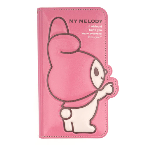 iPhone 12 mini Case (5.4inch) Sanrio Diary Wallet Flip Mirror Cover - My Melody Point Hot Pink