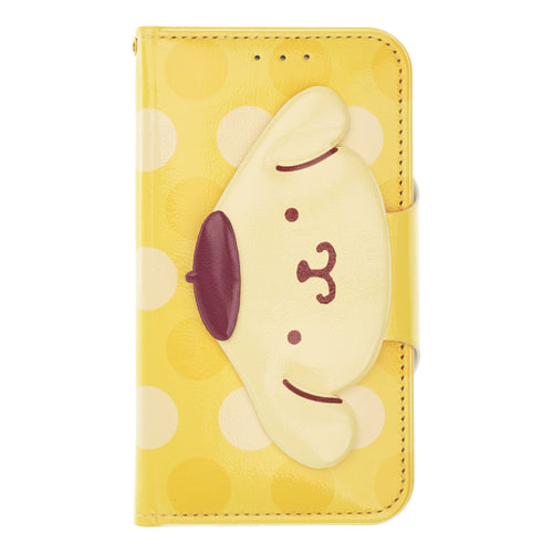 iPhone 12 mini Case (5.4inch) Sanrio Diary Wallet Flip Mirror Cover - Face Button Pompompurin Yellow
