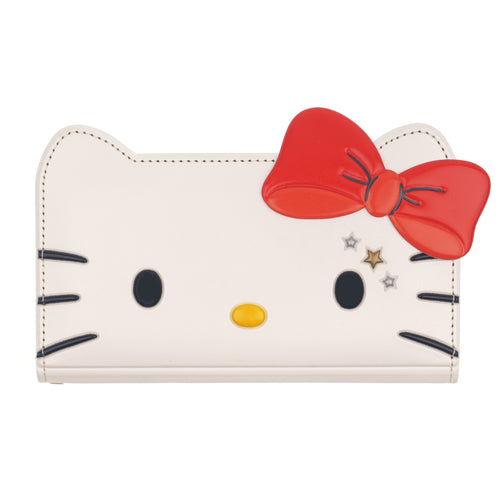 Galaxy S6 Edge Case HELLO KITTY Diary Wallet Flip Mirror Cover - Twinkle White Ribbon Red