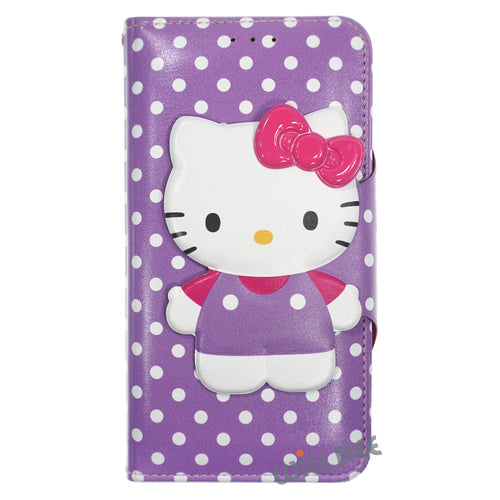 Galaxy S6 Edge Case HELLO KITTY Diary Wallet Flip - Button Body Purple