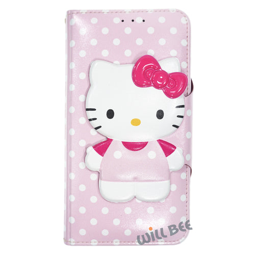 Galaxy S6 Case (5.1inch) HELLO KITTY Diary Wallet Flip - Button Body Baby Pink