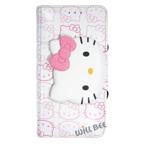 Galaxy S6 Edge Case HELLO KITTY Diary Wallet Flip - Button Face White