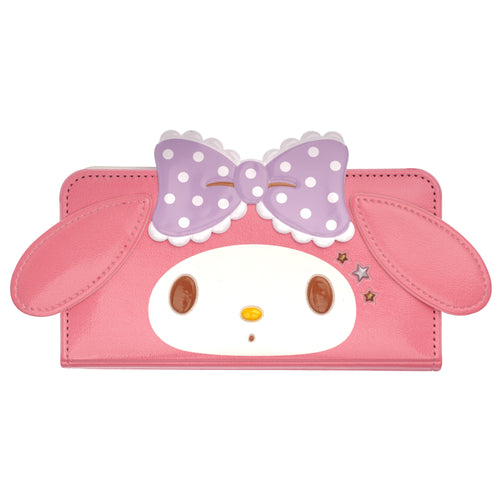 Galaxy S6 Case (5.1inch) Sanrio Diary Wallet Flip Mirror Cover - My Melody Face Hot Pink