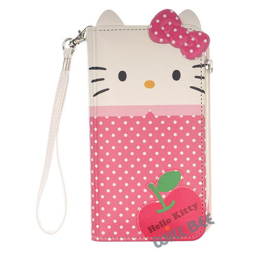 Galaxy S6 Case (5.1inch) HELLO KITTY Diary Flip [ Double Sided Wallet ] Mirror Coin Pocket Cover - Wallet Body Spot Pink