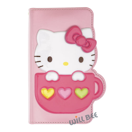 Galaxy S6 Case (5.1inch) HELLO KITTY Diary Wallet Flip - Cup Baby Pink
