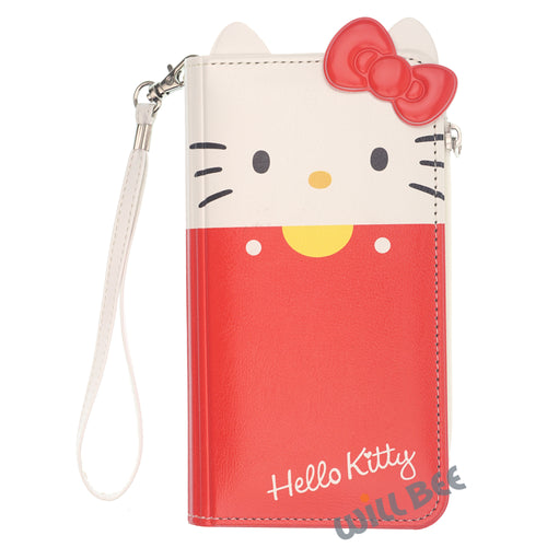 Galaxy S6 Case (5.1inch) HELLO KITTY Diary Flip [ Double Sided Wallet ] Mirror Coin Pocket Cover - Wallet Body Red