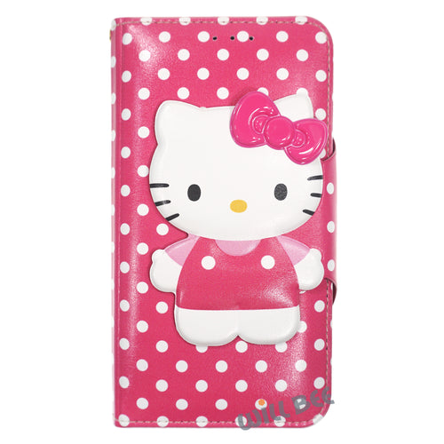Galaxy S6 Edge Case HELLO KITTY Diary Wallet Flip - Button Body Hot Pink