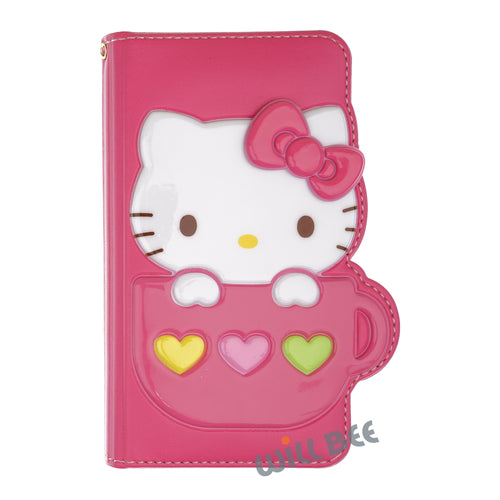 Galaxy S6 Edge Case HELLO KITTY Diary Wallet Flip - Cup Hot Pink