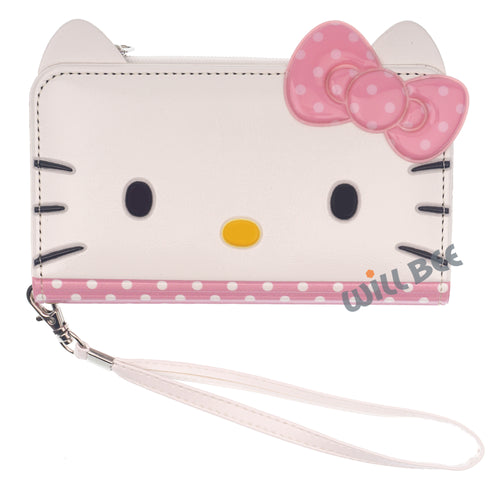 Galaxy S6 Case (5.1inch) HELLO KITTY Diary Flip [ Double Sided Wallet ] Mirror Coin Pocket Cover - Wallet Face Spot Pink