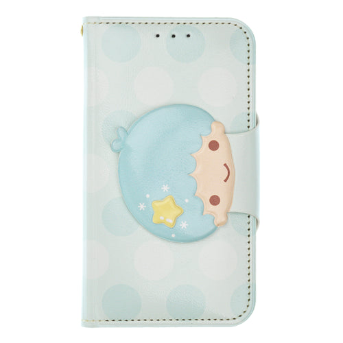 Galaxy S6 Case (5.1inch) Sanrio Diary Wallet Flip Mirror Cover - Face Button Little Twin Stars Kiki