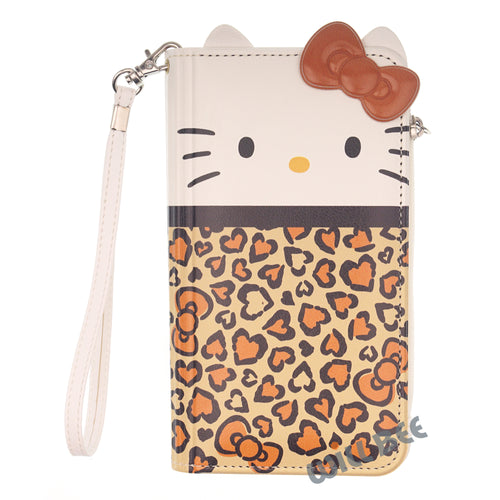 Galaxy S8 Case (5.8inch) HELLO KITTY Diary Flip [ Double Sided Wallet ] Mirror Coin Pocket Cover - Wallet Body Brown
