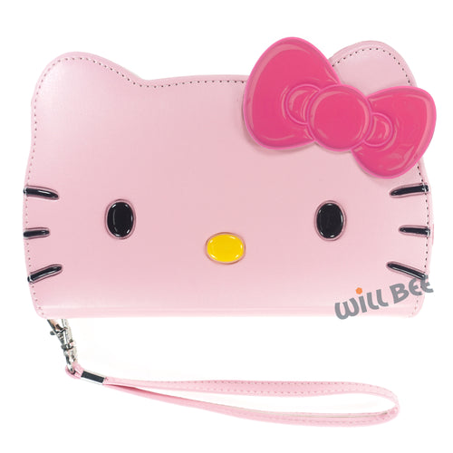 Galaxy S6 Case (5.1inch) HELLO KITTY Diary Wallet Flip Strap Included Cover - Big Face Baby Pink