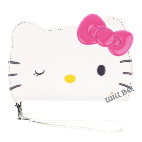 Galaxy S6 Case (5.1inch) HELLO KITTY Diary Wallet Flip Strap Included Cover - Big Face Wink White