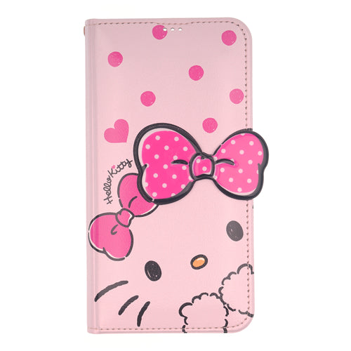 Galaxy S6 Case (5.1inch) HELLO KITTY Diary Wallet Flip Stand Function Mirror Cover - Shy Pink