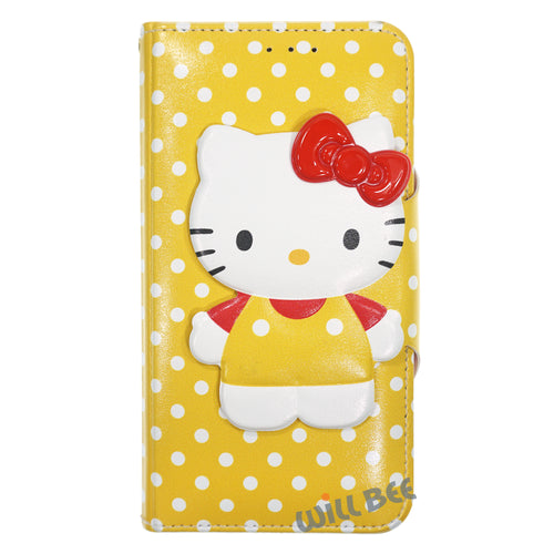 Galaxy S6 Edge Case HELLO KITTY Diary Wallet Flip - Button Body Yellow