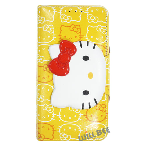 Galaxy S6 Case (5.1inch) HELLO KITTY Diary Wallet Flip - Button Face Yellow