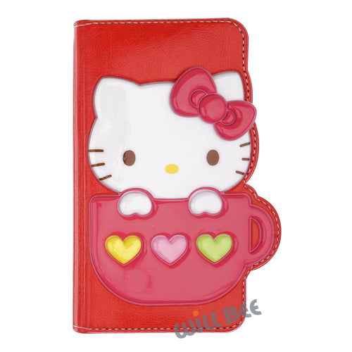 Galaxy S6 Case (5.1inch) HELLO KITTY Diary Wallet Flip - Cup Red