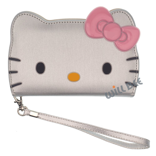 Galaxy S6 Edge Case HELLO KITTY Diary Wallet Flip Strap Included Cover - Big Face Silver