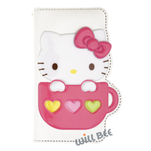 Galaxy S6 Edge Case HELLO KITTY Diary Wallet Flip - Cup White