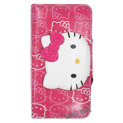 Galaxy S6 Case (5.1inch) HELLO KITTY Diary Wallet Flip - Button Face Hot Pink