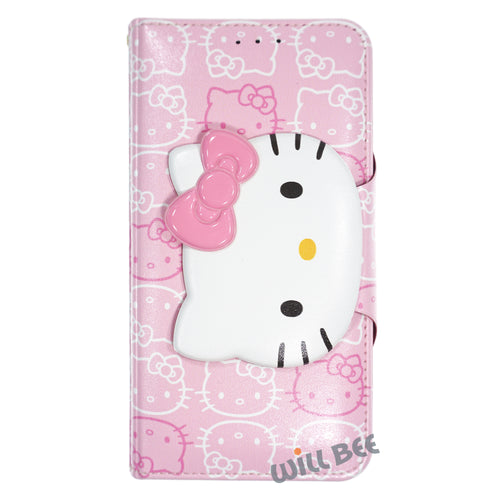 Galaxy S6 Edge Case HELLO KITTY Diary Wallet Flip - Button Face Baby Pink