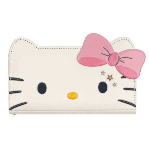 Galaxy S6 Case (5.1inch) HELLO KITTY Diary Wallet Flip Mirror Cover - Twinkle White Ribbon Pink