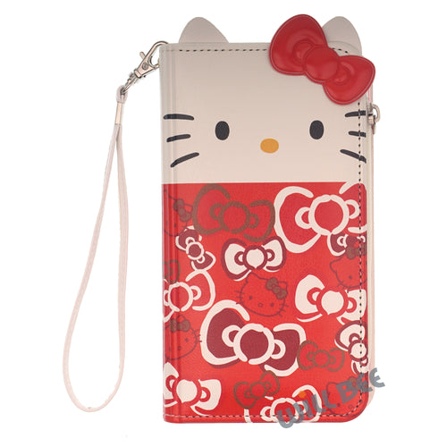 Galaxy S6 Case (5.1inch) HELLO KITTY Diary Flip [ Double Sided Wallet ] Mirror Coin Pocket Cover - Wallet Body Ribbon Red