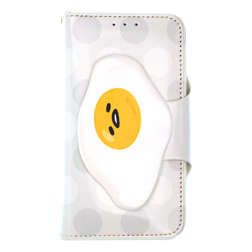 Galaxy S6 Case (5.1inch) Sanrio Diary Wallet Flip Mirror Cover - Face Button Gudetama White