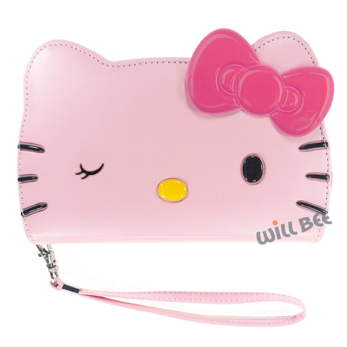 Galaxy S6 Case (5.1inch) HELLO KITTY Diary Wallet Flip Strap Included Cover - Big Face Wink Baby Pink