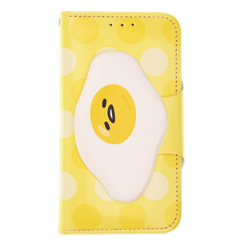 Galaxy S6 Case (5.1inch) Sanrio Diary Wallet Flip Mirror Cover - Face Button Gudetama Yellow