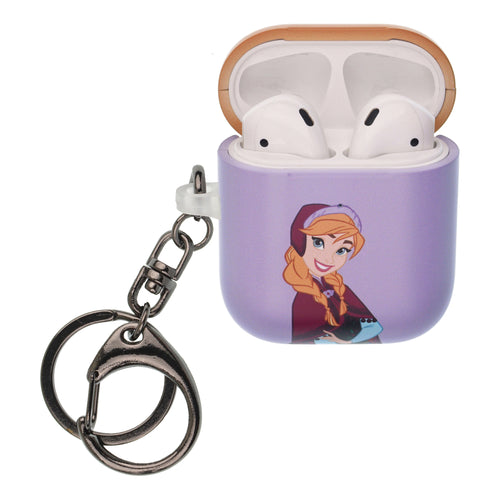 Disney Frozen AirPods Case Key Ring Keychain Key Holder Hard PC Shell Strap Hole Cover [Front LED Visible] - Frozen Anna