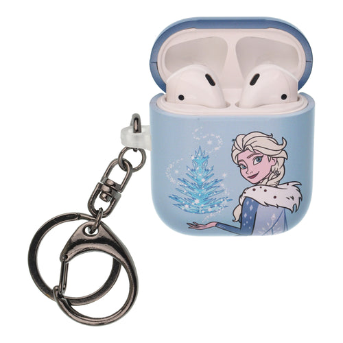 Disney Frozen AirPods Case Key Ring Keychain Key Holder Hard PC Shell Strap Hole Cover [Front LED Visible] - Frozen Elsa
