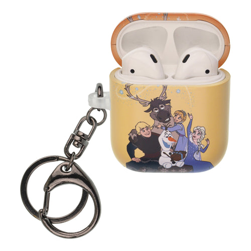 Disney Frozen AirPods Case Key Ring Keychain Key Holder Hard PC Shell Strap Hole Cover [Front LED Visible] - Frozen Family