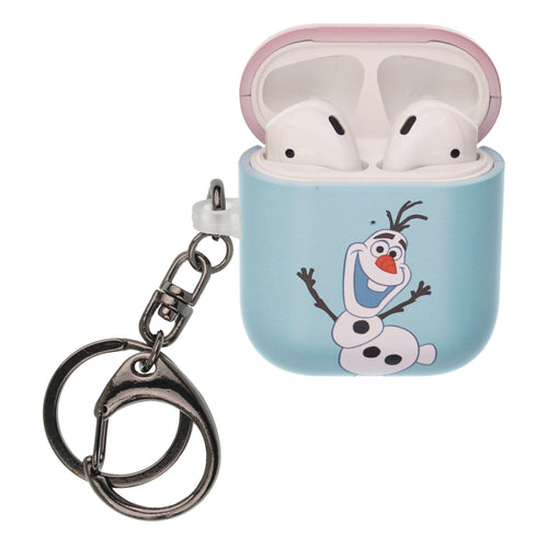 Disney Frozen AirPods Case Key Ring Keychain Key Holder Hard PC Shell Strap Hole Cover [Front LED Visible] - Frozen Olaf