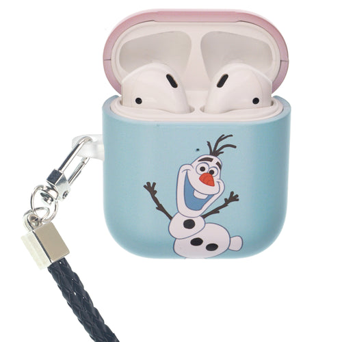Disney Frozen AirPods Case Neck Lanyard Protective Hard PC Shell Strap Hole Cover - Frozen Olaf