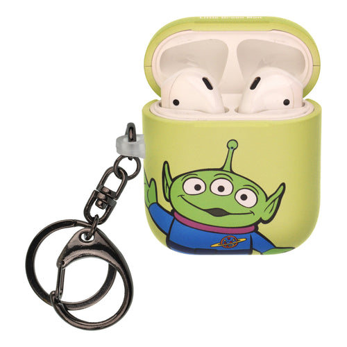 Disney AirPods Case Key Ring Keychain Key Holder Hard PC Shell Strap Hole Cover [Front LED Visible] - Toy Story Little Green Man