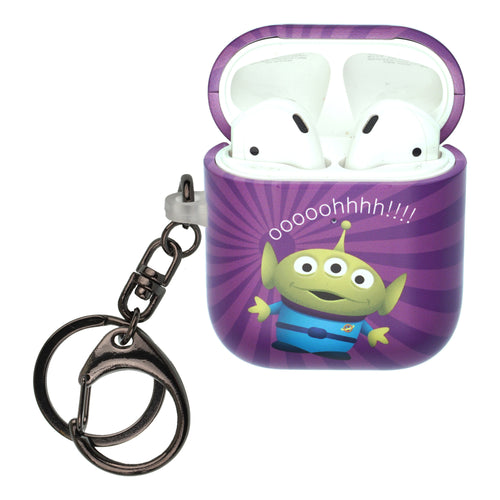 Disney AirPods Case Key Ring Keychain Key Holder Hard PC Shell Strap Hole Cover [Front LED Visible] - Greeting Aliens