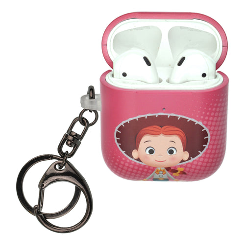 Disney AirPods Case Key Ring Keychain Key Holder Hard PC Shell Strap Hole Cover [Front LED Visible] - Greeting Jessie