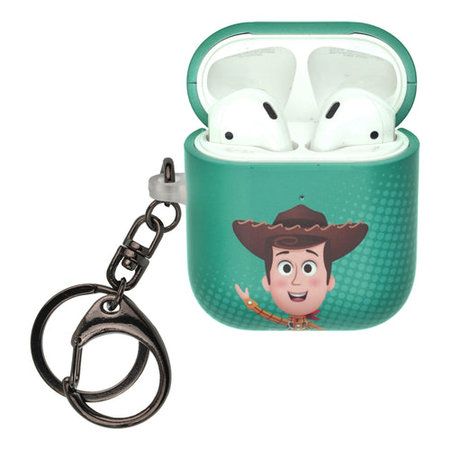 Disney AirPods Case Key Ring Keychain Key Holder Hard PC Shell Strap Hole Cover [Front LED Visible] - Greeting Woody