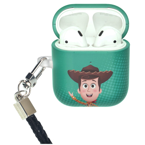 Disney AirPods Case Neck Lanyard Protective Hard PC Shell Strap Hole Cover - Greeting Woody