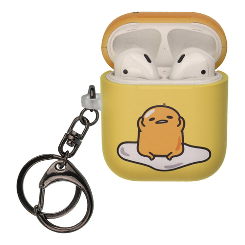 Sanrio AirPods Case Key Ring Keychain Key Holder Hard PC Shell Strap Hole Cover [Front LED Visible] - Gudetama