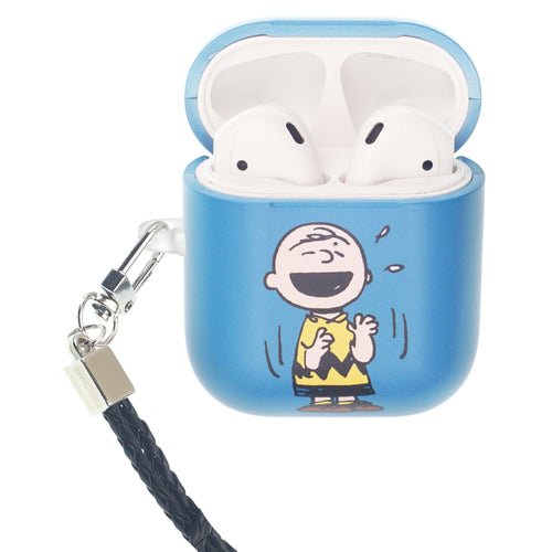 Peanuts AirPods Case Neck Lanyard Hard PC Shell Strap Hole Cover - Happy Charlie Brown