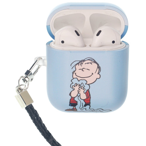 Peanuts AirPods Case Neck Lanyard Hard PC Shell Strap Hole Cover - Happy Linus