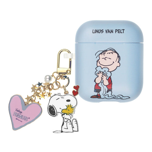 Peanuts AirPods Case Snoopy Key Ring Keychain Key Holder Hard PC Shell Strap Hole Cover Accessories - Happy Linus