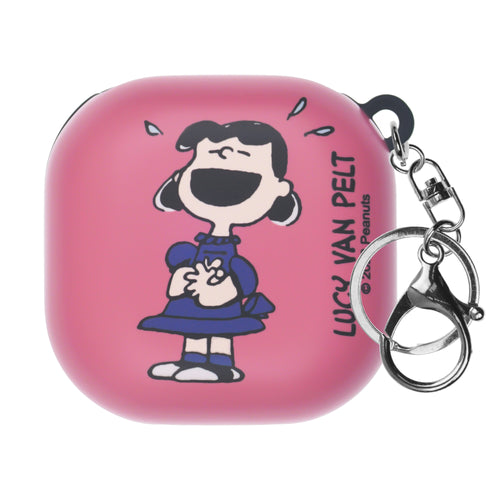 Peanuts Galaxy Buds Live Case (2020) Key Ring Keychain Key Holder Hard PC Shell Cover - Happy Lucy